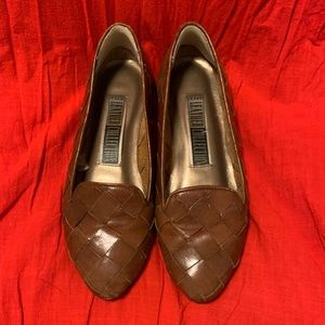 Vintage Shoes - Tan Woven Leather smoking loafers Brazil flats 6